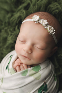 Ivy Floral Swaddle Blanket & Headband