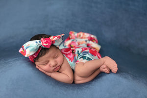 Aqua Floral Swaddle Blanket & Headband