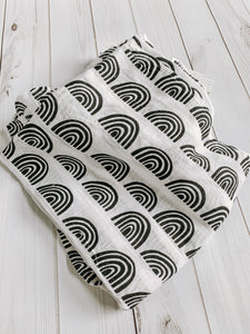 Black and White Rainbow Muslin Blanket