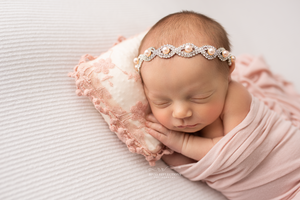Pink Floral Pillow and Silver Rhinestone/Pearl Headband