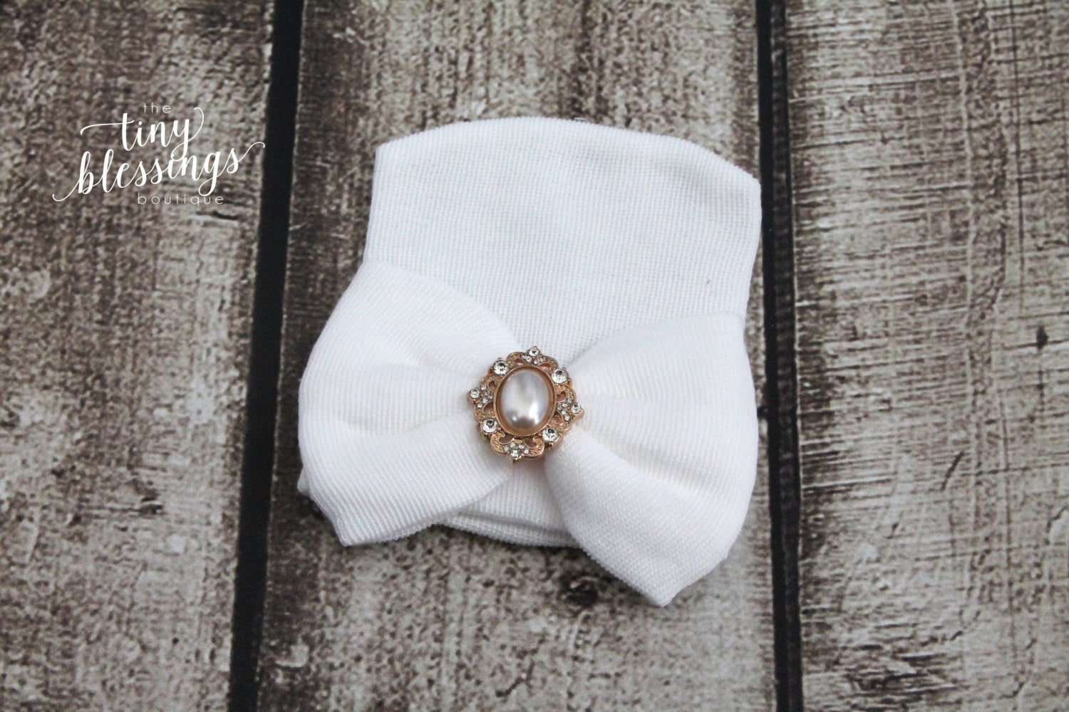 Newborn Hospital Hat with Gold Pearl Button