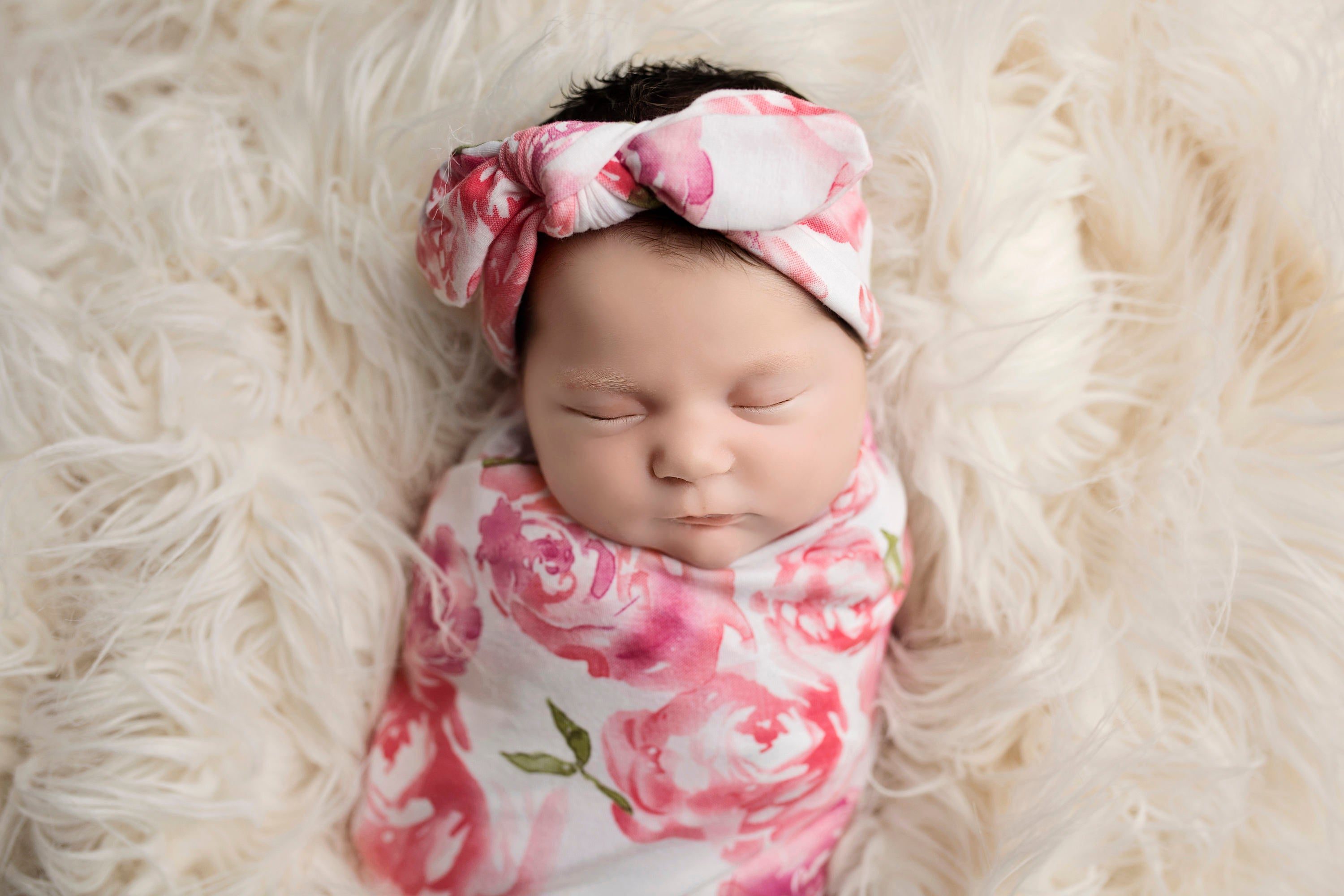 Knit Swaddle Blanket and  Knot Headband