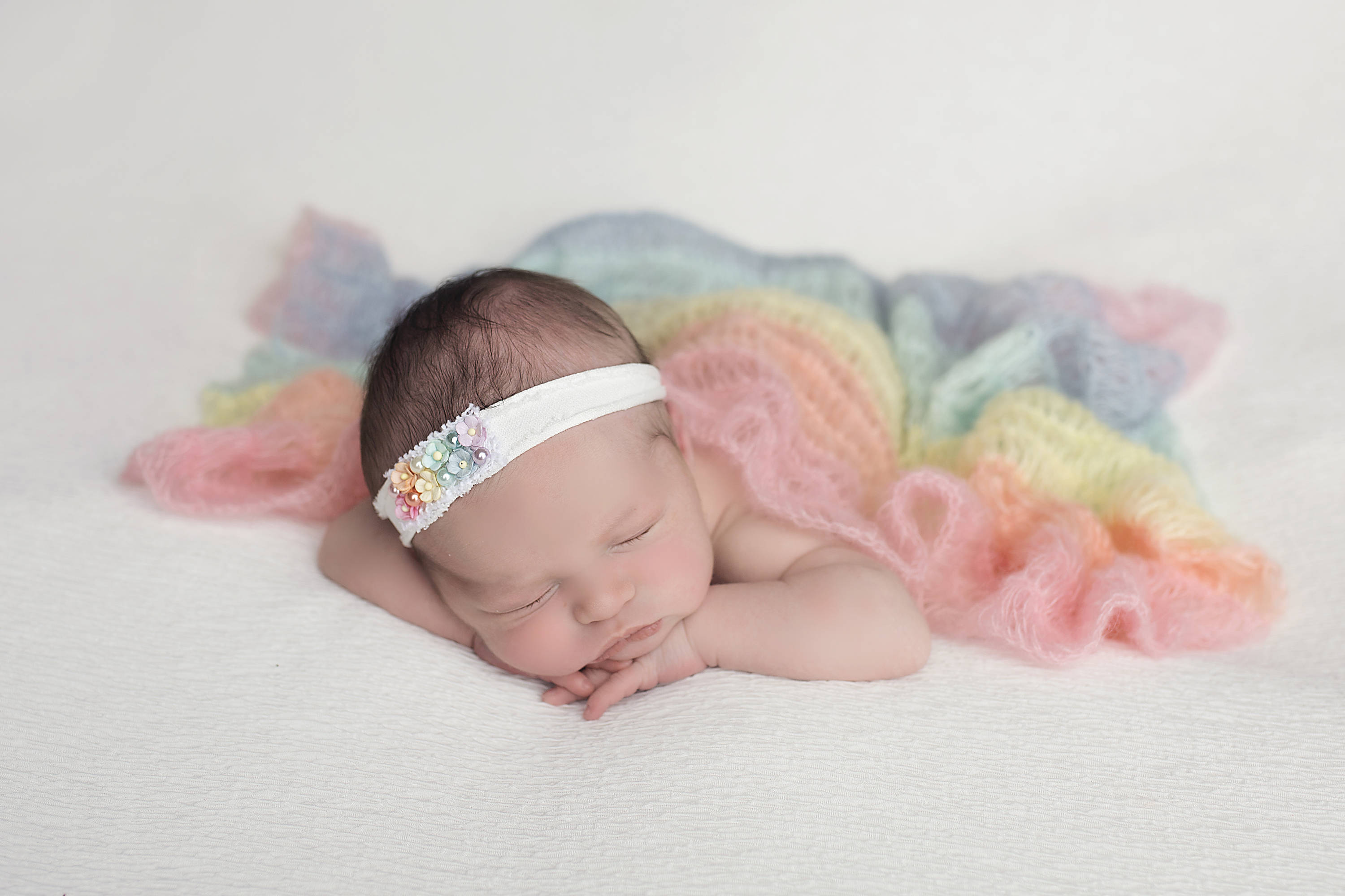 Rainbow Baby Knit Wrap & Headband