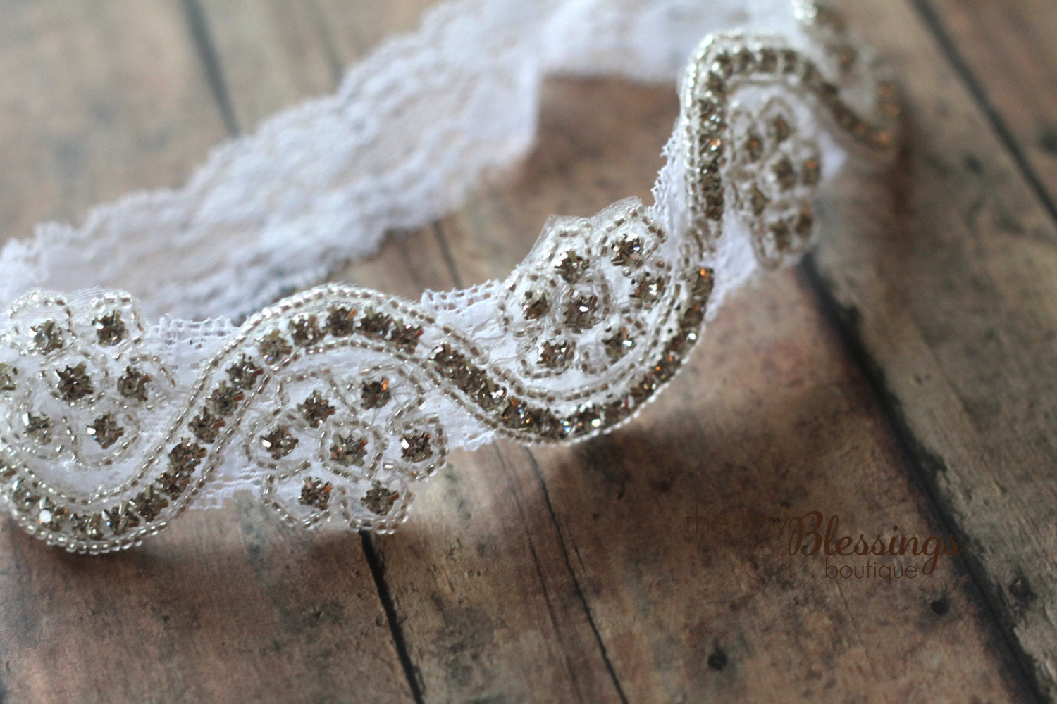 Rhinestone and Lace Headband