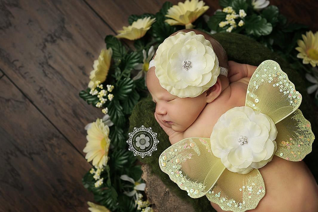 Yellow Butterfly Wing and Headband Set