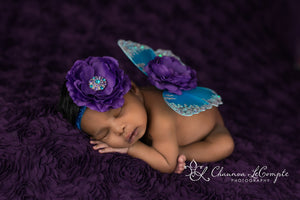 Turquoise and Purple Butterfly Wings & Headband