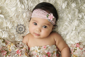Pink Flower and Rhinestone Lace Headband