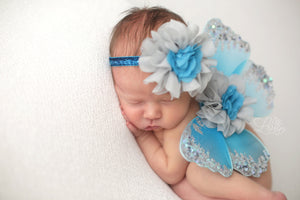 Turquoise and Gray Butterfly Wing Set