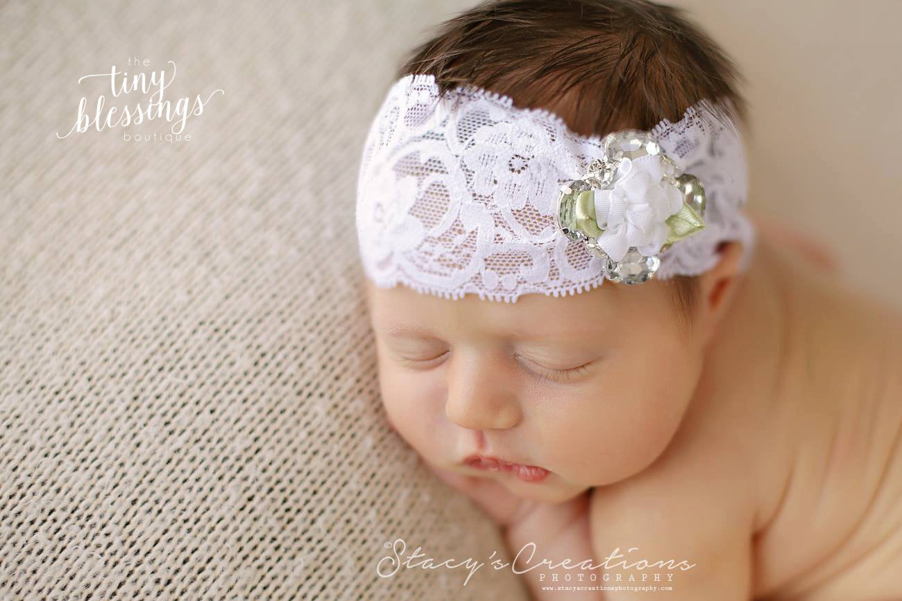 White Flower and Rhinestone Lace Headband