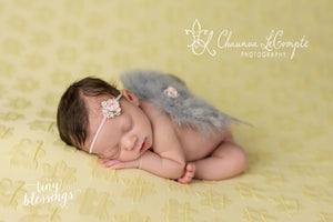 Gray Angel Wing and Pink Flower Headband