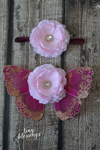 Hot Pink and Baby Pink Butterfly Wing Set