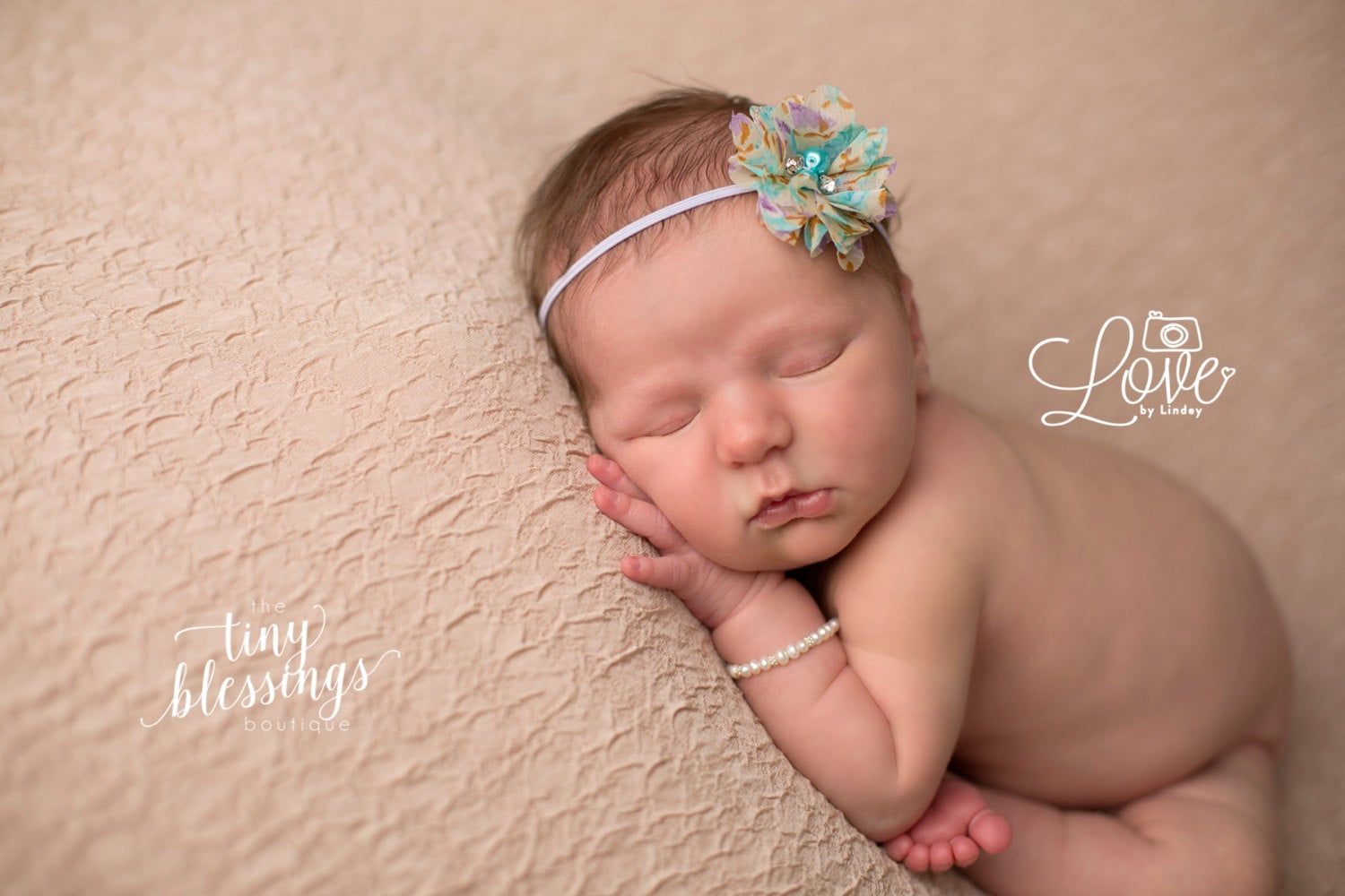 Lavender and Aqua Floral Print Flower Headband