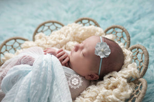 Light Blue Flower Pearl Headband