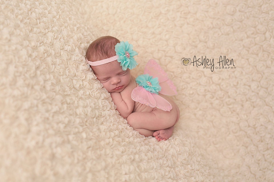 Pink and Aqua Butterfly Wing and Headband Set