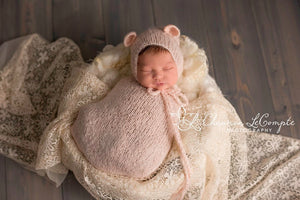 Peach Knit Snuggle Sack and Bonnet