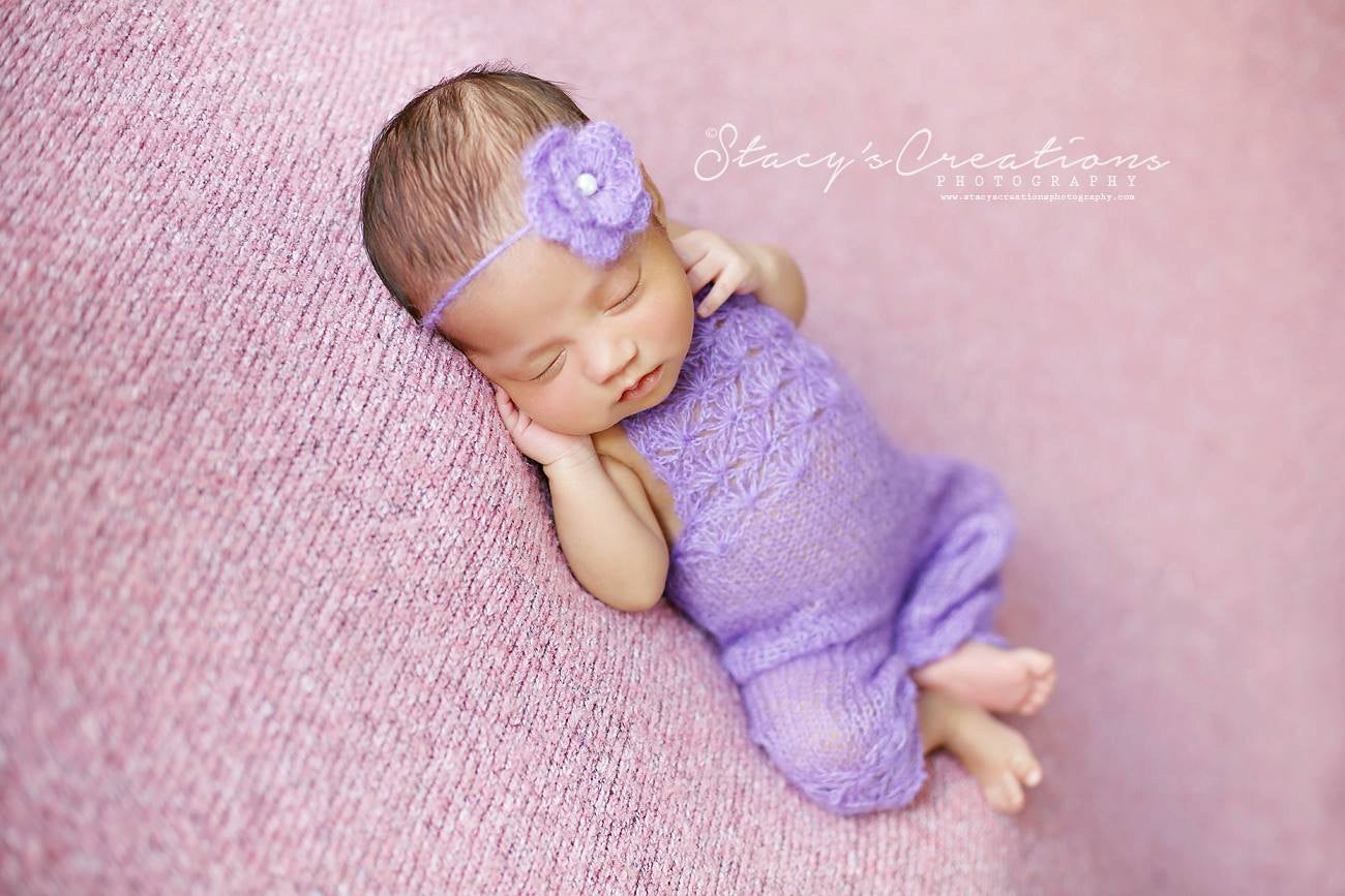 Purple Knit Romper and Tie Back