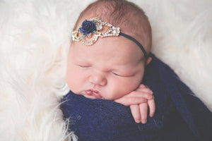 Gold Rhinestone and Navy Flower Headband