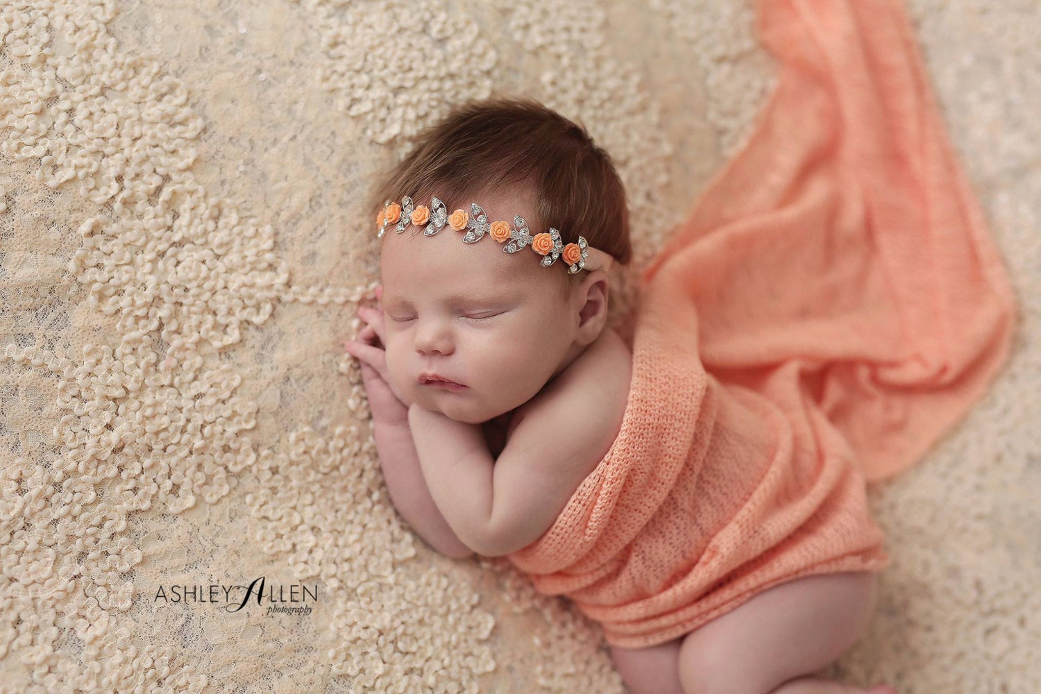 Orange Flower Rhinestone Headband