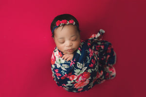 Navy Floral Swaddle Blanket & Headband