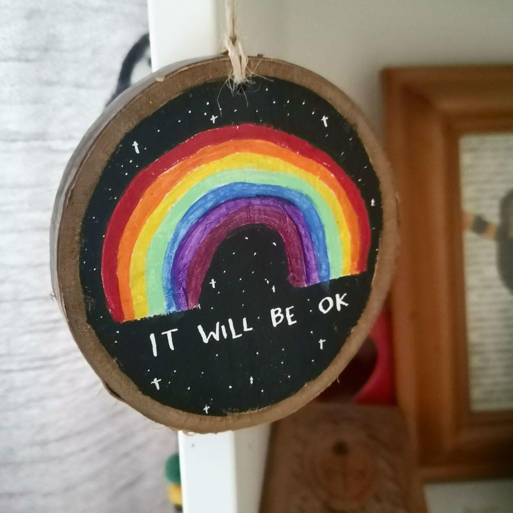 Wood Slice - Rainbow on Black Custom - Night Whale Designs