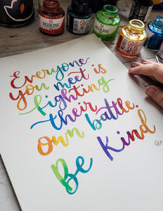 Be Kind - A4 Watercolour Original - Night Whale Designs