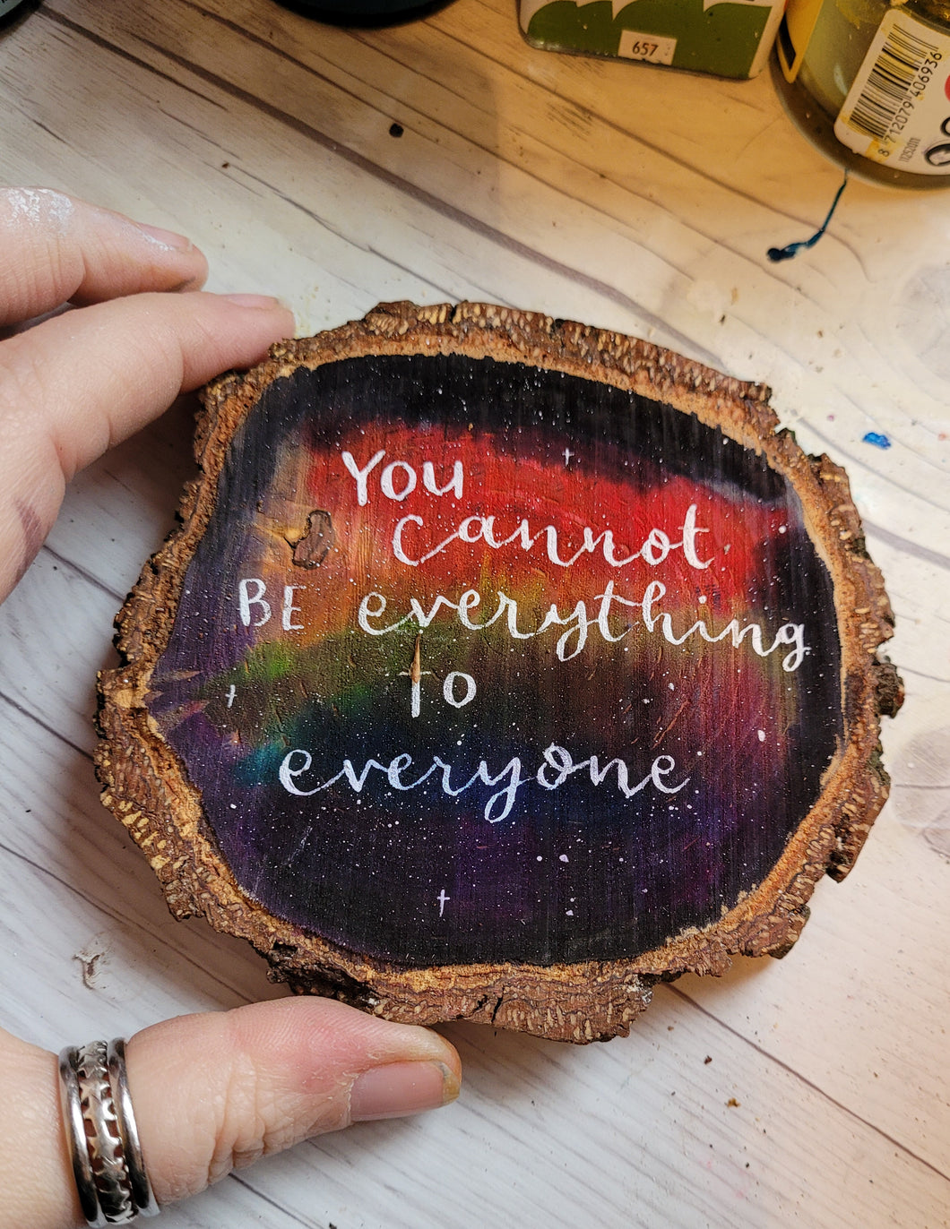 Wood Slice - You cannot be everything - Night Whale Designs