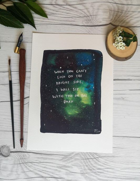 Print - I will sit with you in the dark - Night Whale Designs