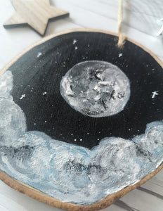 Wood Slice - Moon and clouds