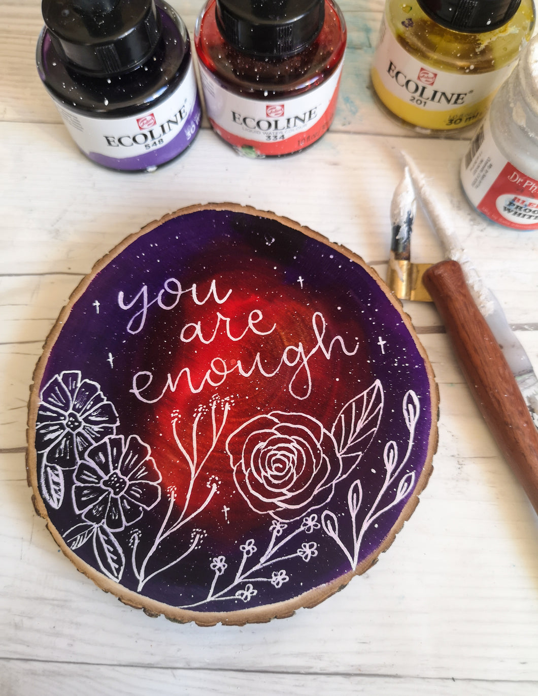 Wood Slice - You are enough - Night Whale Designs