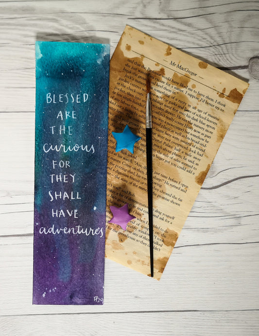 Bookmark - Blessed are the curious - Night Whale Designs
