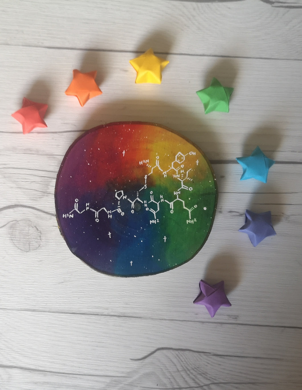 Wood Slice - Rainbow Oxytocin - Night Whale Designs