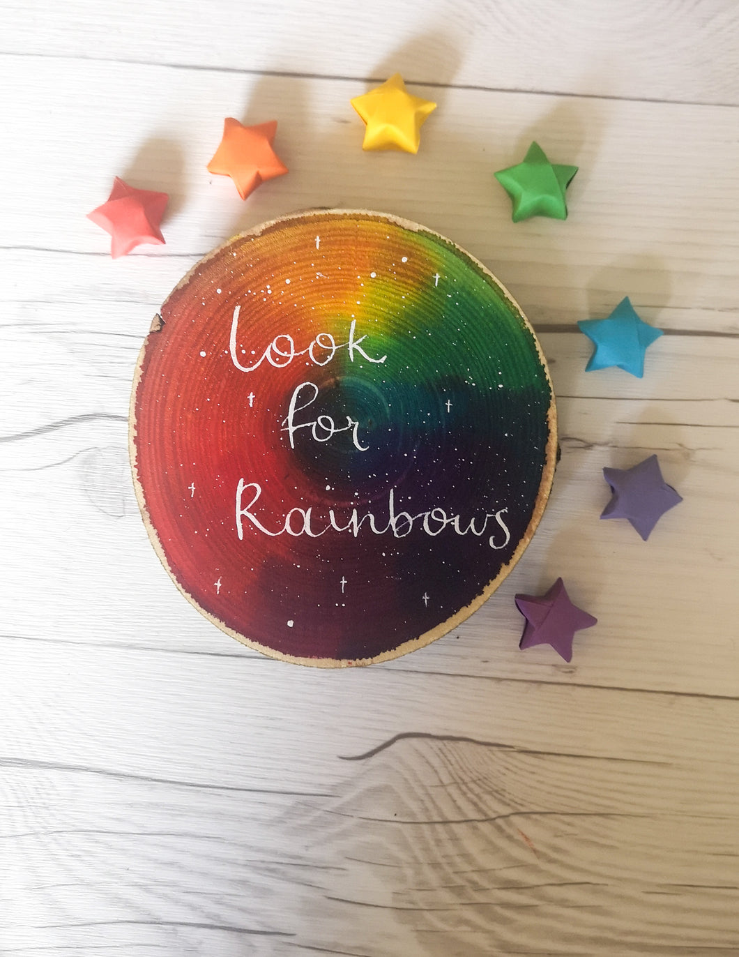 Wood Slice - XL - Look for rainbows - Night Whale Designs