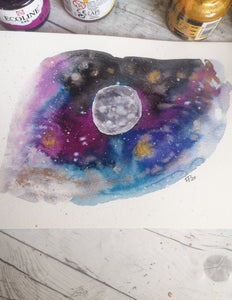 A5 - Galaxy Moon 3 - Night Whale Designs