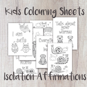 Digital Download - Kids Affirmation Colouring Sheets - Night Whale Designs