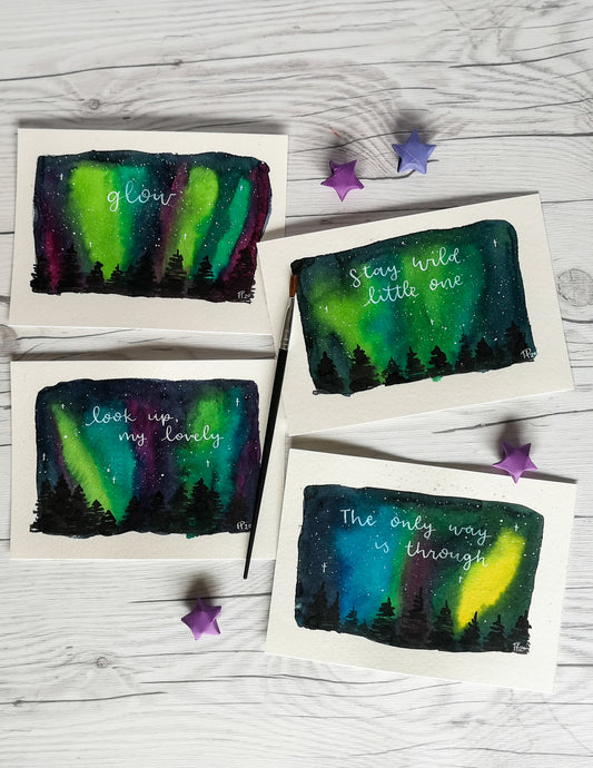 Custom Painting - Northern Lights Forest - Night Whale Designs