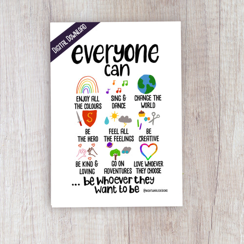 Digital Download - Everyone Can - Night Whale Designs