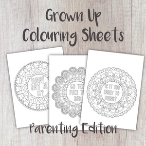 Digital Download - Grown Up Colouring Sheets Parenting Edition - Night Whale Designs