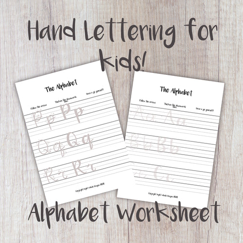 Digital Download - Kids Worksheet - Learn to Letter The Alphabet - Night Whale Designs