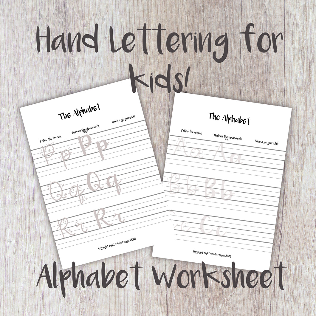 Digital Download - Kids Worksheet - Learn to Letter The Alphabet