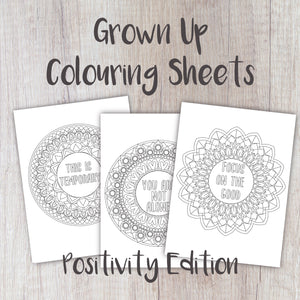 Digital Download - Grown Up Colouring Sheets Positivity Edition - Night Whale Designs