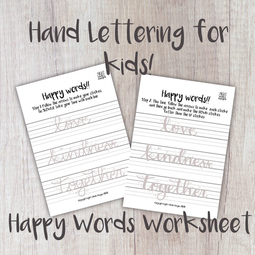 Digital Download - Kids Worksheet - FREE Learn to Letter Happy Words - Night Whale Designs