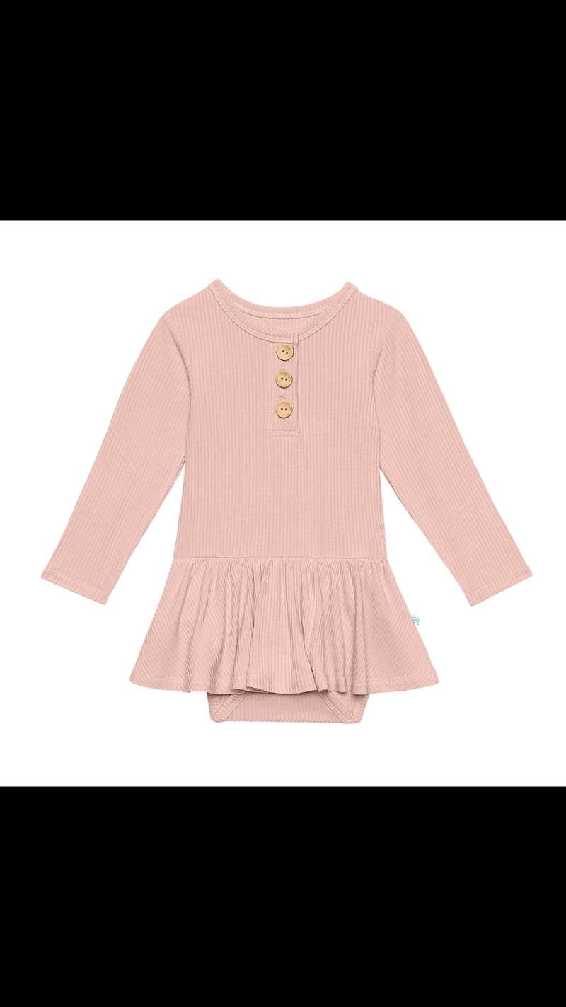 Posh Peanut Solid Ribbed Sweet Pink Long Sleeve Henley w/Twirl Skirt Bodysuit