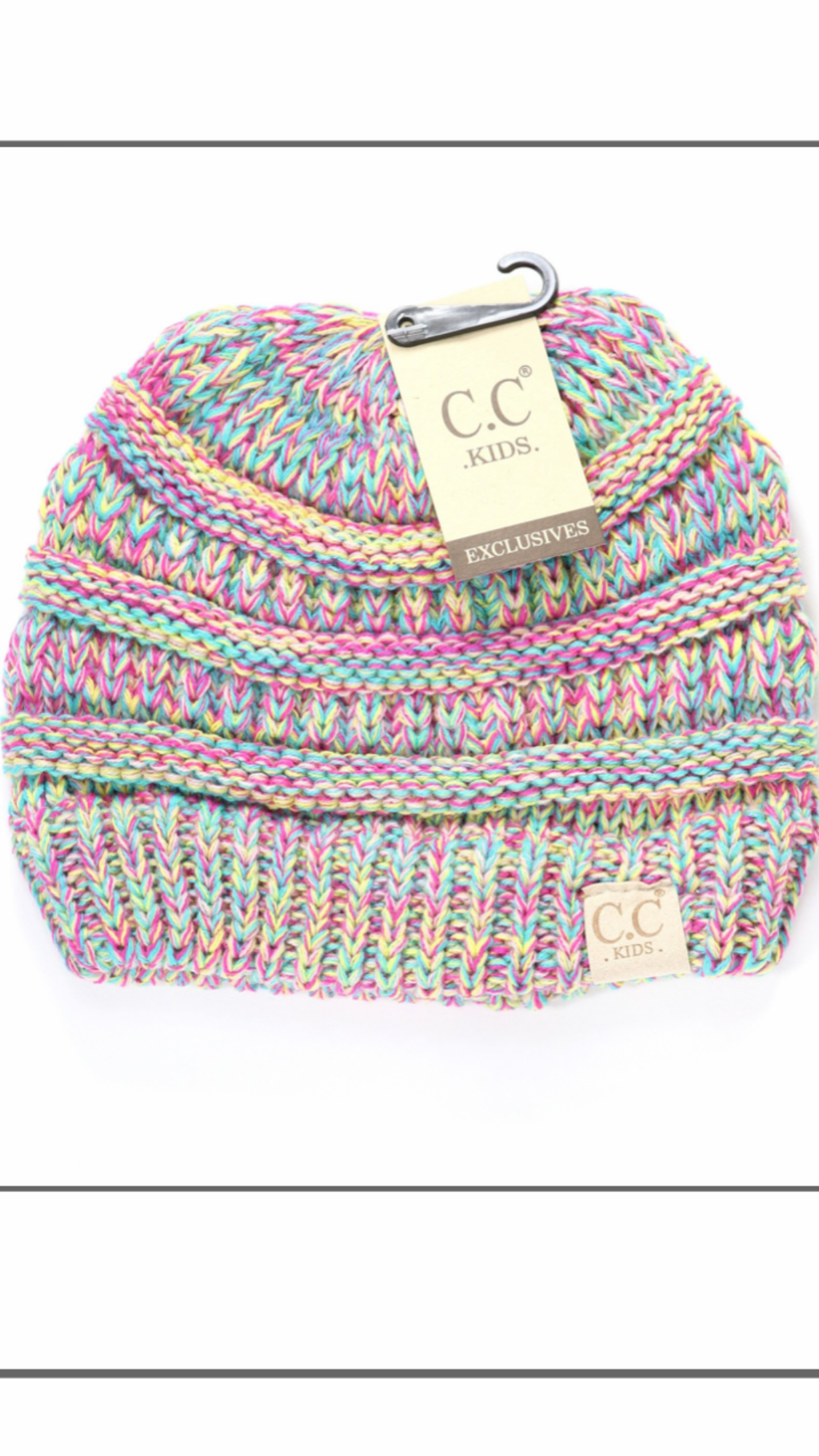 CC Beanie Kids Multi Color Cable Knit Pom