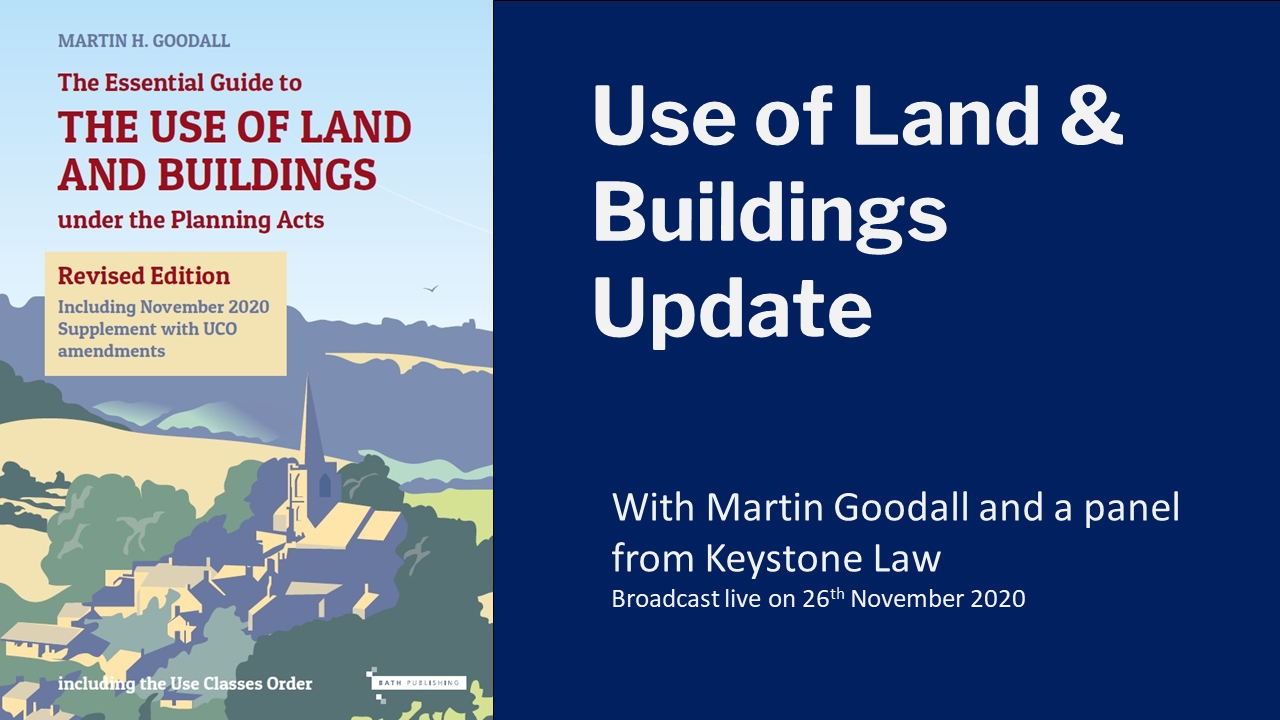 Use of Land and Buildings Update (webinar recording)