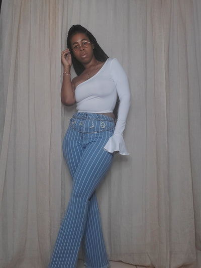 Delphinium Pinstripe Bell Bottoms - September 2020 Stylist Pick
