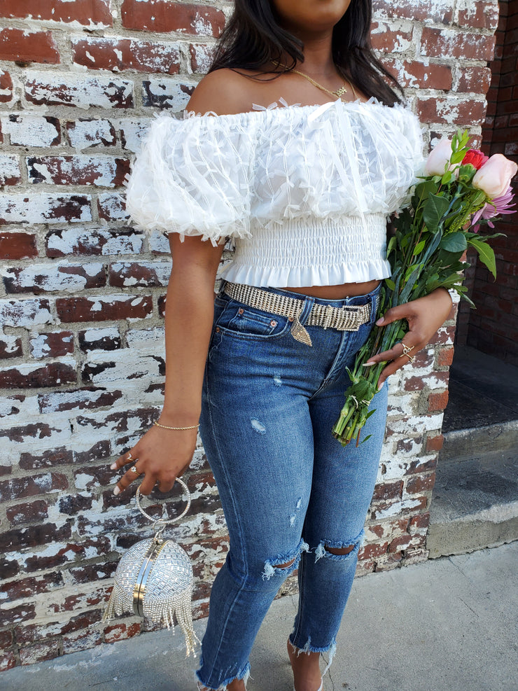 Willow Tulle Mini Bow Puff Sleeve Crop Top