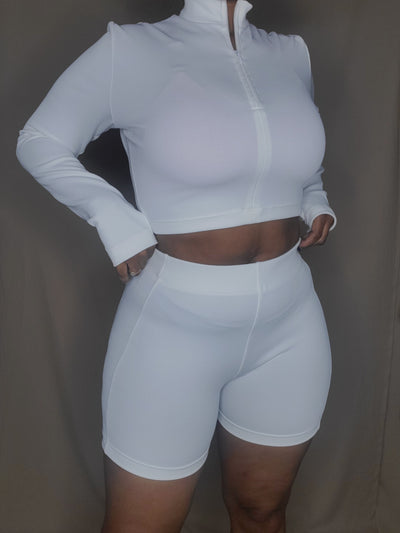 West Adams Long Sleeve Crop Top | Porcelain