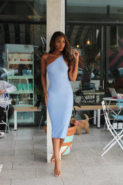 Ivy 1 Shoulder Strappy Back Midi | Cool Girl Blue