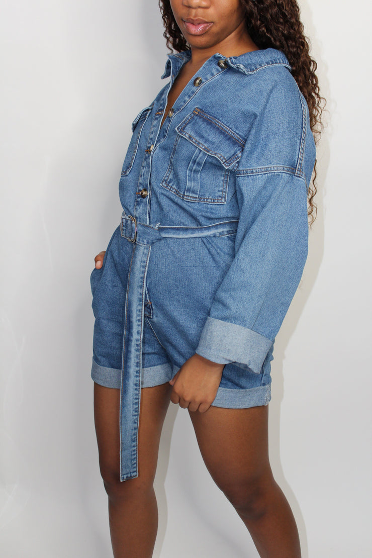 Juniper Denim Long Sleeve Romper
