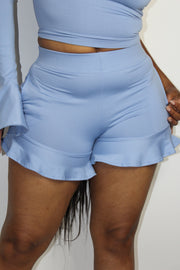 Poppy Ruffle Hem Short | Cool Girl Blue